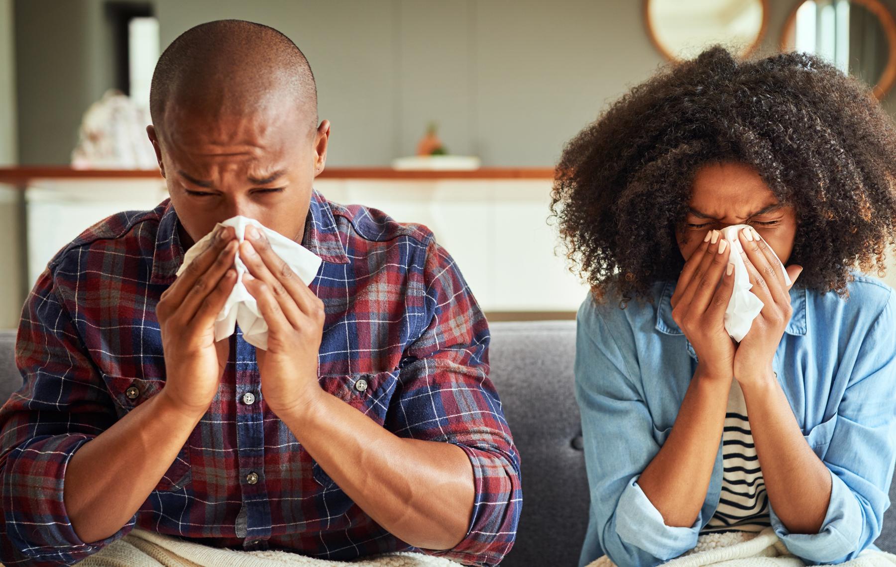 Couple Sneezing
