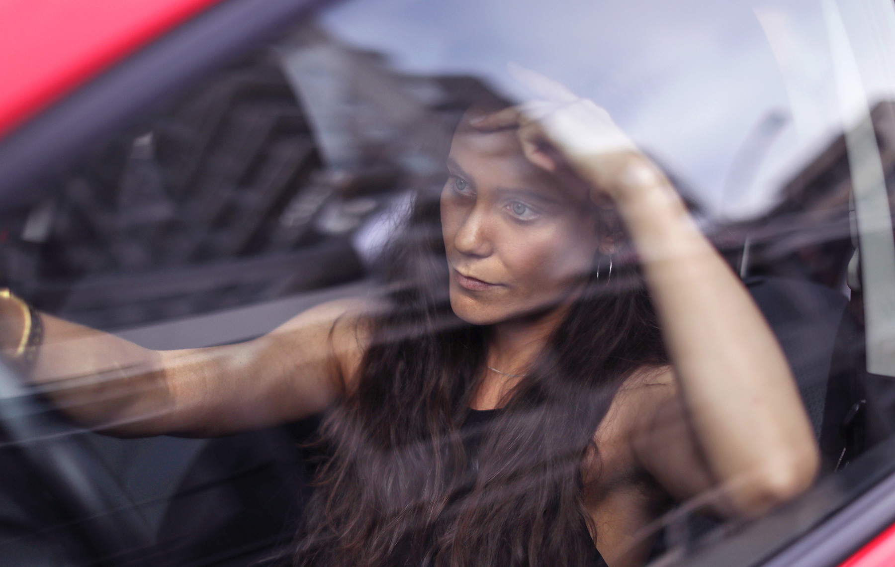 Woman feeling lonely trapped in the traffic