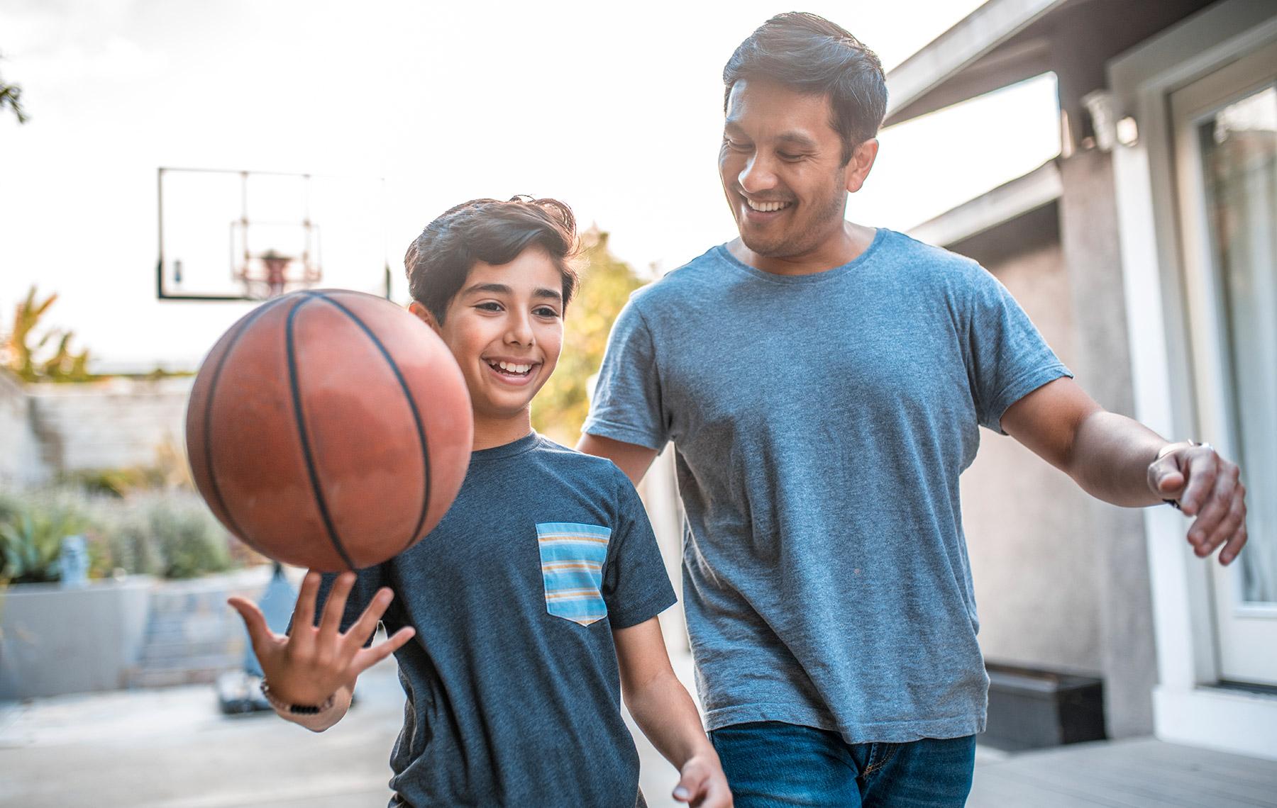 Dad and son basketball