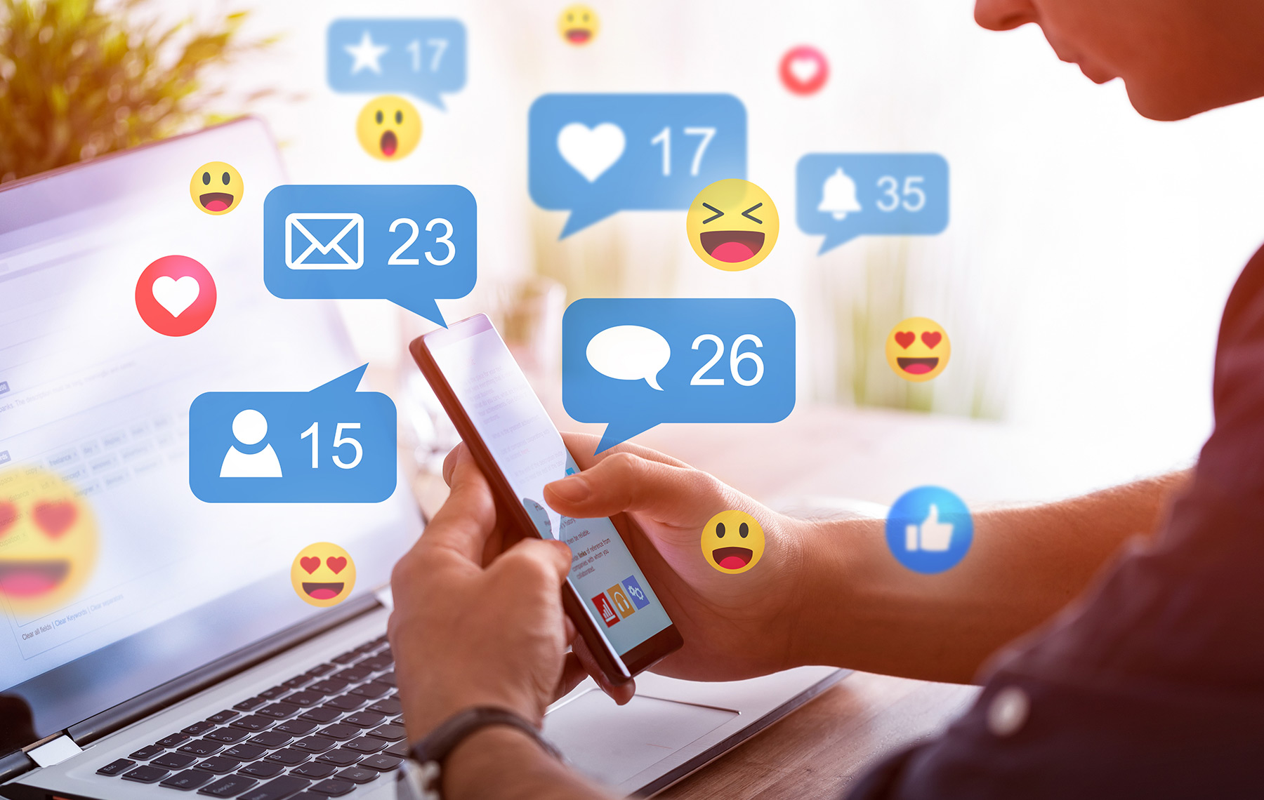 Social media concept emojis engagement fomo blog